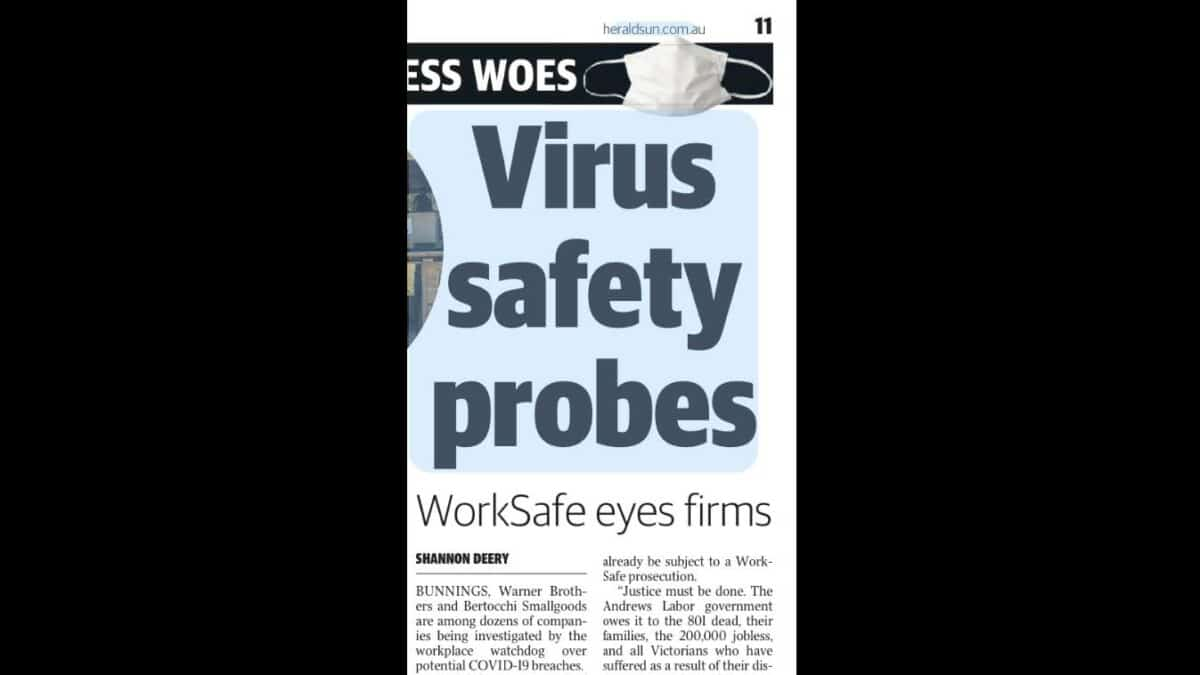 WorkSafe Victoria's COVID19 OHS investigations