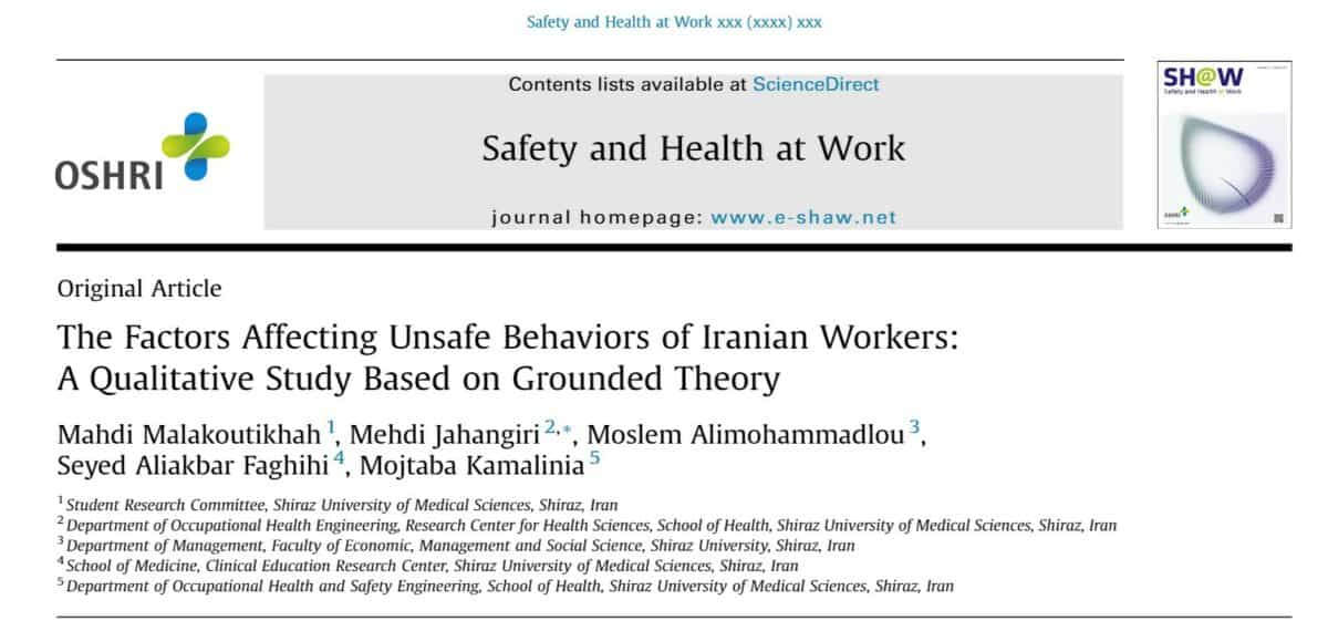The causes of unsafe behaviours