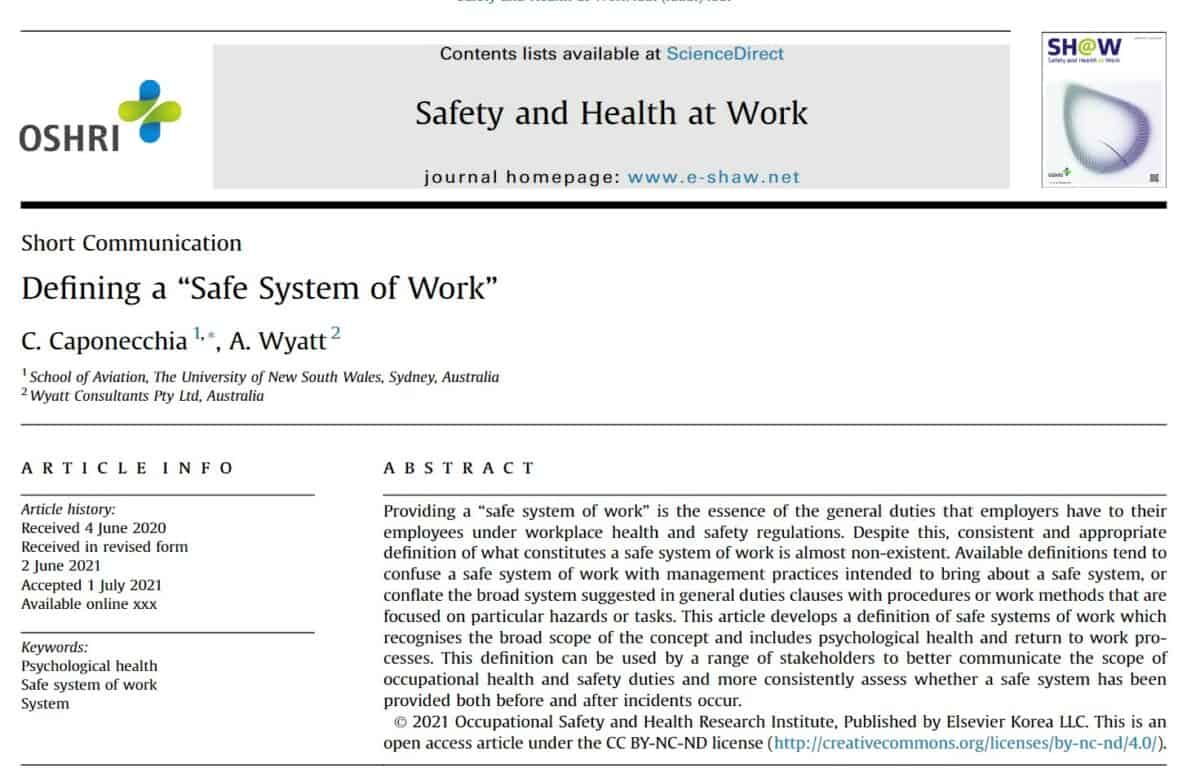 """Is a definition of a """"safe system of work"""" still needed?"""